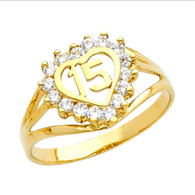 Forever 15 - Yellow Gold Ring with CZ - 14 K.  2.4 gr - RG671