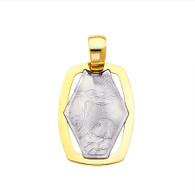 Yellow / White Gold Baptism Medal  14 K.  1.1 gr. -PT230