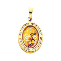 Yellow Gold Baptism Medal with CZ - 14 K.  1.0 gr. - PT204
