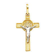 Yellow / White Gold Cross - 14K - 1.5 gr. - PT37