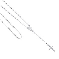 Silver Rosary Necklace - 17 in. - SSNK13