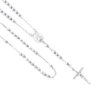 Silver Rosary Necklace - 18 in. - SSNK11