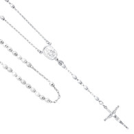 Silver Rosary Necklace - 26 in - SSNK9