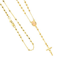 Yellow / White / Red Gold Rosary Necklace - 14 K - NK64