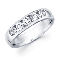 White gold wedding band with diamonds - BD5-5