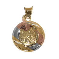 Yellow / White / Red Gold Baptism Medal  - BPT008