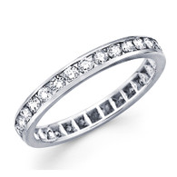 White gold wedding band with diamonds - 14 K - BD5-2
