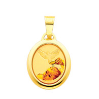 Yellow Gold Baptism Medal . 14 K.  1.1 gr. - PT216