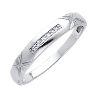 White gold wedding band with Diamonds - 14K  0.05 Ct - DRG13G