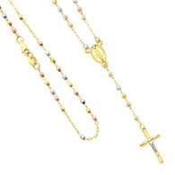 Yellow / White / Red Gold Rosary Necklace - 14 K - NK66