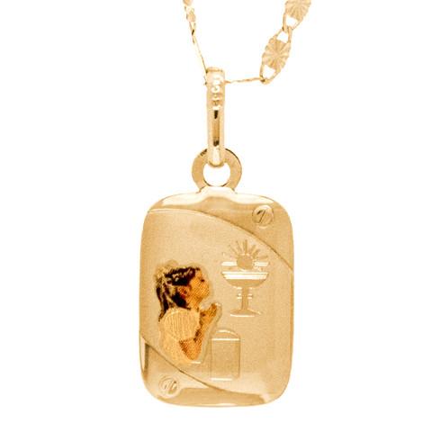 First Communion three gold Pendant - 14 K.  1.0 gr. - FC278