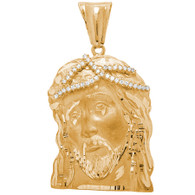 Jesus 14K Gold & CZ Pendant XL - 25.1 Gr. - MRD-405