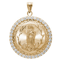 Yellow Gold Medal - Virgin Mary - CZ - 14 K - 9.4 gr. - RP096