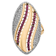 Yellow / White / Red Gold Ring - CZ - 14 K - RGO-227