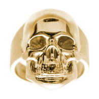 Yellow Gold Skull Ring - CZ - 14 K - RGO-251