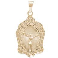 Yellow Gold Baptism Medal  - Jesus - 14 K - BPT-611