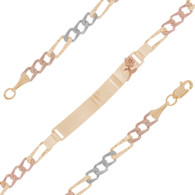 Yellow / White / Red Gold ID Bracelet - 14 K - IDB302