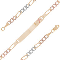 Yellow / White / Red Gold ID Bracelet - 14 K - IDB303