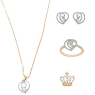 Necklace, pendant, earrings and Bracelet Set  - Yellow Gold - 14 K - JST124