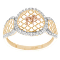 Yellow, Red & White  Gold Ring with CZ - 14 K - RGO266