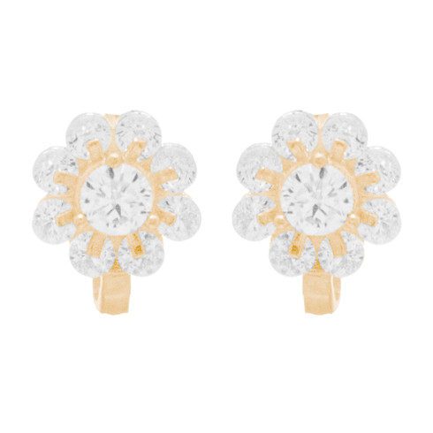 Yellow Gold Earrings with CZ - 14 K  - ER407