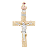 Yellow / White / Red - 3 Gold Cross Pendant - 14 K - PTC225 2.5g