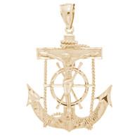 Yellow Gold Anchor Jesus Pendant - 14 K - PTR553  5.3 gr.