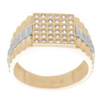 Yellow & White  Gold Ring with CZ - 14 K - RGO321  Yellow & White Gold ring decorated with CZ.  14K | 6.8 gr