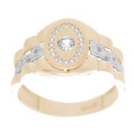 Yellow & White  Gold Ring with CZ - 14 K - RGO326  Yellow & White Gold ring decorated with CZ.  14K   4.8 gr