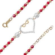 Yellow & White Gold Bracelet  with CZ - 14K - BLG761  Yellow & white gold bracelet with a heart decorated with cz.  14K. | 4.4 gr