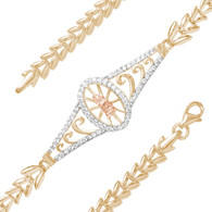 Yellow, White & Red Gold Bracelet  with CZ - 14K - BLG762  Yellow, White & red gold bracelet with a virgin mary decorated with CZ.  14K.   4.3 gr