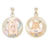 Yellow Gold Medal - 2 Sides - 14 K - RP261  Jesus Christ / Virgin Mary  14 K.   5.6 gr.