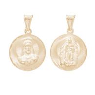 Yellow Gold Medal - 2 Sides - 14 K - RP264  Jesus Christ / Virgin Mary  14 K.   1.8 gr.