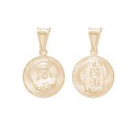 Yellow Gold Medal - 2 Sides - 14 K - RP265  Jesus Christ / Virgin Mary  14 K.   1.4 gr.