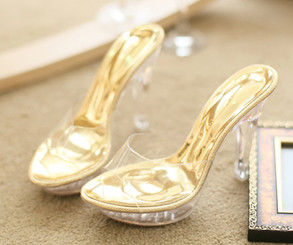 Clear Gold Low Platform Heels