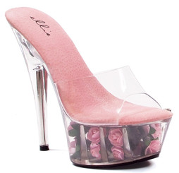 6 Inch Heel Fuchsia Rose Filled Platform Shoes
