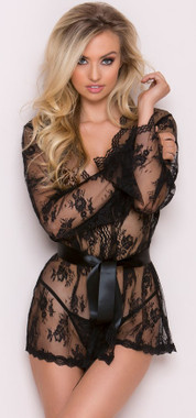 Black Rose Heart Stopper Lace Robe