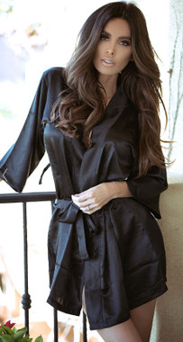 Satin Three Quarter Sleeve Robe With Matching Sash
