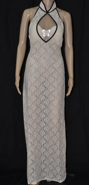White Rose Long Dress With Black Trim