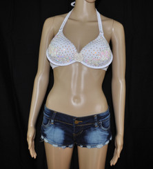 Denim Play Date with White Super Bling Bra