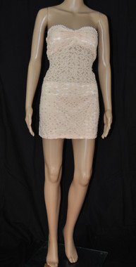 Lace Flowers and Pearls Tan Sexy Dress
