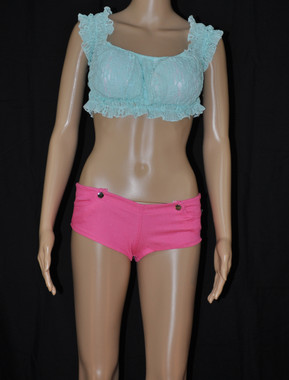Sky Blue Lace Flowers Top and Pink Hot Shorts