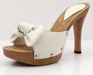 Bow Toe Stud Heels White
