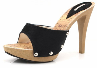Low Platform Covered Stud Heels Black