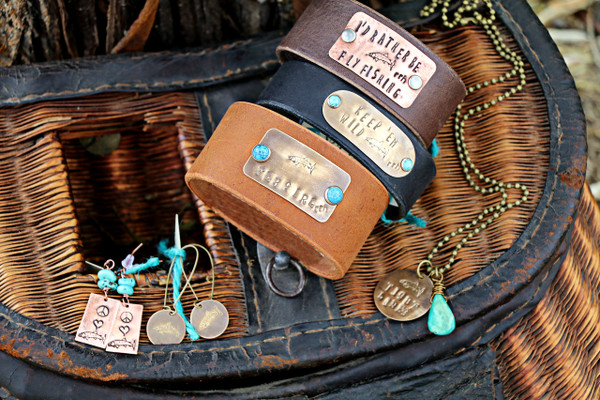 """RRH Cowgirl Relics """"Trout"""" Hand Stamped Earrings"""