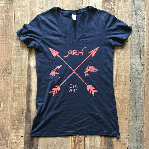 RRH Arrow Tee- Navy w/Coral