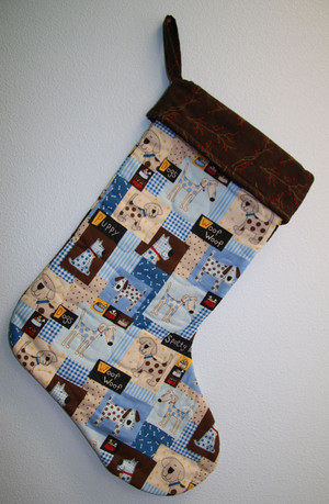 Woof Woof Dog Stocking Brown Top