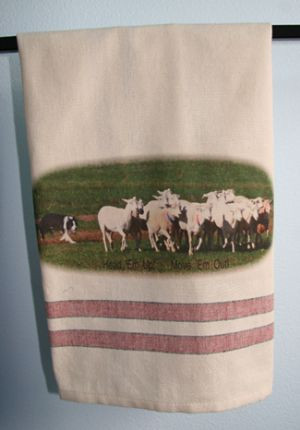 "BC Herding Head ""Em Up! Move 'Em Out!"" - Tea Towel"
