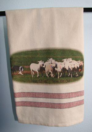 """BC Herding Head """"Em Up! Move 'Em Out!"""" - Tea Towel"""