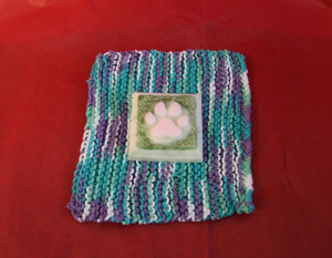Peppermint scented dog paw goat milk soap and crochet wash cloth